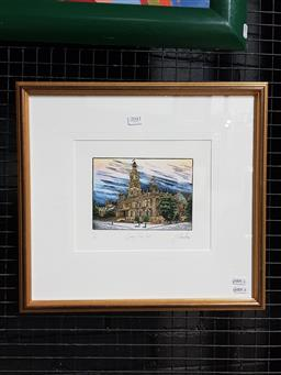Sale 9127 - Lot 2041 - Yngvar Stroem-Hansen Sydney Townhall, handcoloured wood engraving, ed. 4/50,  40 x 43 cm
