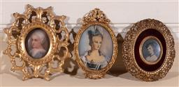 Sale 9190H - Lot 49 - A group of three portrait miniatures of young ladies, in gilt frames, largest Length 13cm