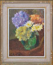 Sale 8358 - Lot 545 - Roland Wakelin (1887 - 1971) - Hydrangea with Daisies, 1969 30.5 x 23cm