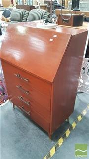Sale 8404 - Lot 1065 - Raised Drop Front Four Drawer Bureau