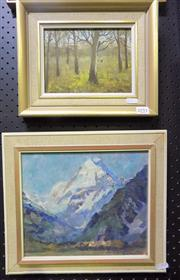Sale 8563T - Lot 2051 - (2 works) R. Dargan - Bush Landscape, oil on board, 14 x 19cm, signed lower left; Artist Unknown - Mountain Scene, oil on board,...