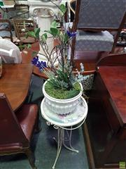 Sale 8601 - Lot 1043 - Ceramic Planter with Faux Plants on Plant Stand