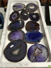 Sale 8619 - Lot 2098 - Tray of Purple Cut Base Agates