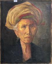 Sale 8663 - Lot 2027 - Suminarto (Balinese School) - Portrait of an Elder, oil on canvas, 49x43cm, signed upper right