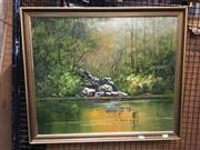 Sale 8720 - Lot 2068 - Alex Andrews - Bushland Creek oil on board, 49.5 x 59.5cm signed lower right
