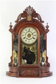 Sale 8749 - Lot 28 - American Walnut mantle Clock