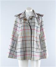 Sale 8800F - Lot 25 - An as-new Coach Tattersall Bonnie Cape coat in wool, size medium