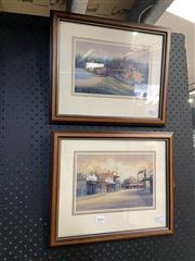 Sale 8888 - Lot 2028 - Pair of John Vander Decorative Prints depicting Country Towns, signed verso -