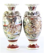 Sale 8977 - Lot 86 - A Pair of Satsuma Vases H: 33cm