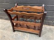 Sale 9051 - Lot 1096 - Vintage Timber Magazine Rack (H:38 W:40 D:29cm)