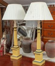 Sale 9060H - Lot 29 - A pair of column form table lamps painted and with peated shades. Height 86cm.