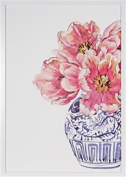 Sale 9113 - Lot 2043 - Decorative Print of Pink Flowers in an Oriental vase, framed size 71 x 51cm