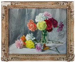 Sale 9190H - Lot 50 - After Hans Heysen, still life of carnations, oil on board, SLL, 66, 34cm x 43cm