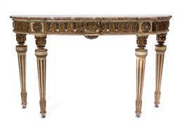 Sale 9200P - Lot 95 - A stunning 18th Century Italian polychrome and gilded console table with marble top, marble restored, Height 94cm x Width 153cm Dept...