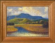 Sale 8363 - Lot 545 - Roland Wakelin (1887 - 1971) - Mt. Saddleback from Werri, NSW, c1945 24 x 34.5cm