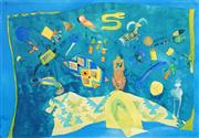 Sale 8592A - Lot 5096 - Sylvia Edwards - Still Life in Turquoise 42 x 60.5cm