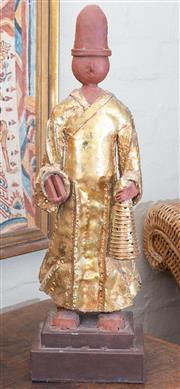 Sale 8550H - Lot 24 - A decorative metal and gold painted figure in South East Asian style, H 63cm