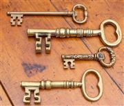 Sale 8625A - Lot 98 - Four brass keys including corkscrew example, longest 24cm.