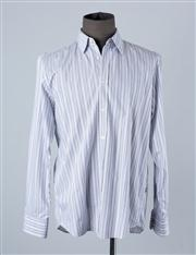 Sale 8770F - Lot 36 - A Hugo Boss slim-fit striped shirt in whites and gray, size XL
