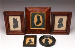 Sale 9107 - Lot 68 - A Collection of Timber Framed Silhouette Various Sizes (Largest 23cm x 23cm)