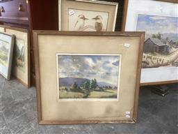 Sale 9106 - Lot 2054 - Dora Jarret Blue Mountains watercolour, 25 x 33.5 cm (frame: 53 x 58 cm), signed lower left -