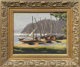 Sale 9111 - Lot 2007 - Lincoln B Hamilton Moored Boats on the Bay oil on board 50 x 56cm (frame) signed verso