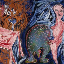 Sale 9141 - Lot 515 - Davida Allen (1951 - ) Begging Fantasy, 1993 oil on board 118 x 118 cm (frame: 122 x 122 x 6 cm) inscribed, dated and titled verso