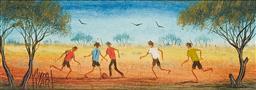 Sale 9161A - Lot 5045 - KYM HART (1955 - ) Bush Soccer oil on canvas board 6.5 x 19.5 cm (frame: 29 x 42 x 2 cm) signed lower left