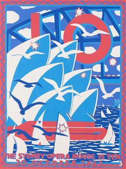 Sale 9157S - Lot 5013 - MARTIN SHARP (1924 - 2013) The Sydney Opera House is 10 screenprint (unframed) 100 x 76 cm signed in print