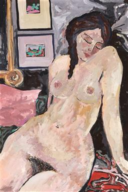 Sale 9252A - Lot 5058 - ARTIST UNKNOWN Studio Nude oil on paper 56 x 37.5 cm (frame: 73 x 53 x 2 cm) unsigned