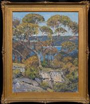 Sale 8420 - Lot 544 - J Howard Ashton (1877 - 1964) - Blue Through the Trees 54.5 x 44.5cm