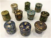 Sale 8436A - Lot 62 - A set of ten lidded cloisonné pill boxes of various shapes and colours.