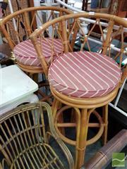 Sale 8469 - Lot 1064 - 3 Cane Bar Stools