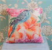 Sale 8500A - Lot 51 - A decorative Blue Budgie print 100% Linen Cushion - Condition: As New - Size: 45cm