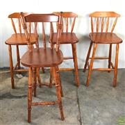 Sale 8649R - Lot 24 - Set of Four Timber Barstools