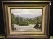 Sale 8622 - Lot 2044 - 2 Works: Alexander - Creek Bed, Oil on Board SLR with Artist Unknown  - River, Oil on Board