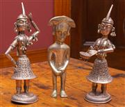 Sale 8625A - Lot 99 - Two Thai silver traditional dancing figures, height approx. 20cm, together with another.