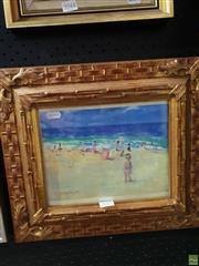 Sale 8645 - Lot 2045 - Donald Fraser - Beach Scene 24 x 38.5cm
