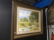 Sale 8720 - Lot 2061 - John B Haslam - Landscape Redbank Creek, Mudgee NSW oil on board, 37 x 45cm, signed lower right