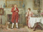 Sale 8821 - Lot 587 - George Goodwin Kilburne (1839 - 1924) - Tea and Conversation 26 x 36cm