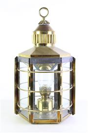 Sale 8926K - Lot 24 - A brass Clipper Ship Lamp marked for Dum Barton, Scotland 1869, H 62cm