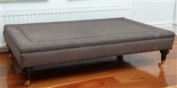 Sale 9134H - Lot 24 - A chocolate wool upholstered rectangular ottoman on castors, Height 38cm x Width 151cm x Depth 81cm (corner scratched)