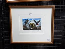 Sale 9127 - Lot 2040 - Yngvar Stroem-Hansen Glossy Black Feeding, handcoloured wood engraving, ed. 1/90, frame: 34 x 49 cm, signed -