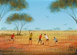 Sale 9154JM - Lot 5093 - KYM HART 1955 - ) Lunchtime Soccer oil on canvas board 10 x 16.5 cm (frame: 28 x 33 x 4 cm) signed lower left