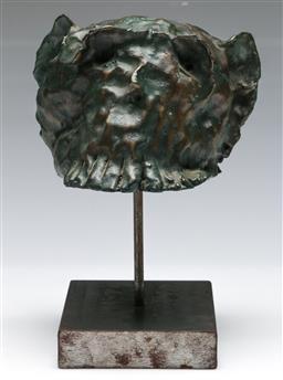 Sale 9138 - Lot 61 - Adam Cullen (1965 - 2012) - Monkey head height inc. stand 22, width 16cm