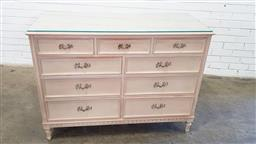 Sale 9157 - Lot 1037 - White wash timber chest of 9 drawers (h:91 x w:122 x d:50cm)