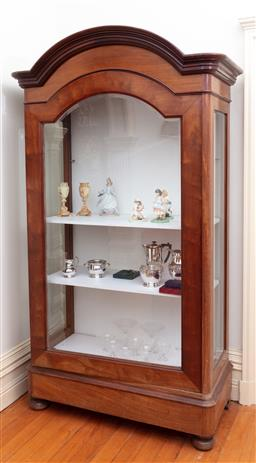 Sale 9190H - Lot 51 - A C19th continental walnut bevel glass front and sided display cabinet raised on bun feet, with three internal painted timber shelve...