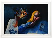Sale 8286 - Lot 555 - Charles Blackman (1928 - ) - Alice Sleeping 66 x 97cm