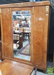 Sale 8402 - Lot 1022 - Fine Art Deco Burr Walnut Armoire, with gilt metal mounts & fine marquetry, having a central mirror panel door & two veneered doors...