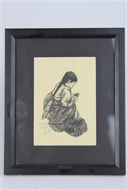 Sale 8396 - Lot 38 - Chinese Signed Picture of a Girl